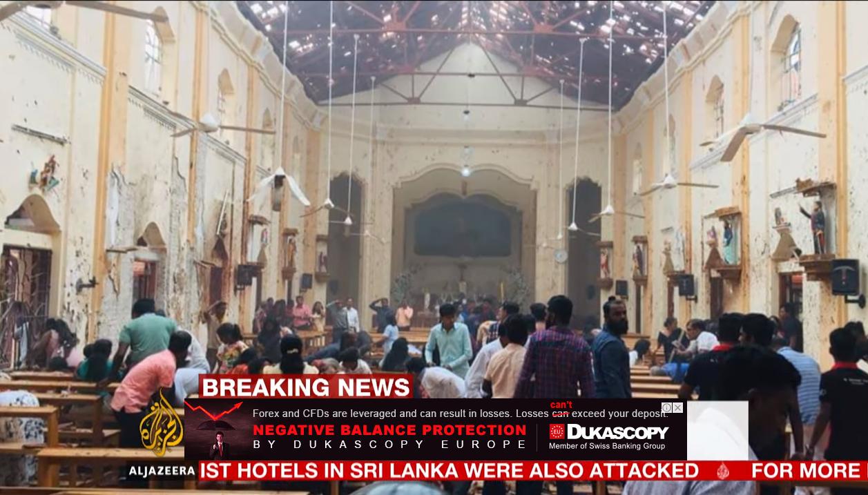 Foto van bomexplosie in kerk