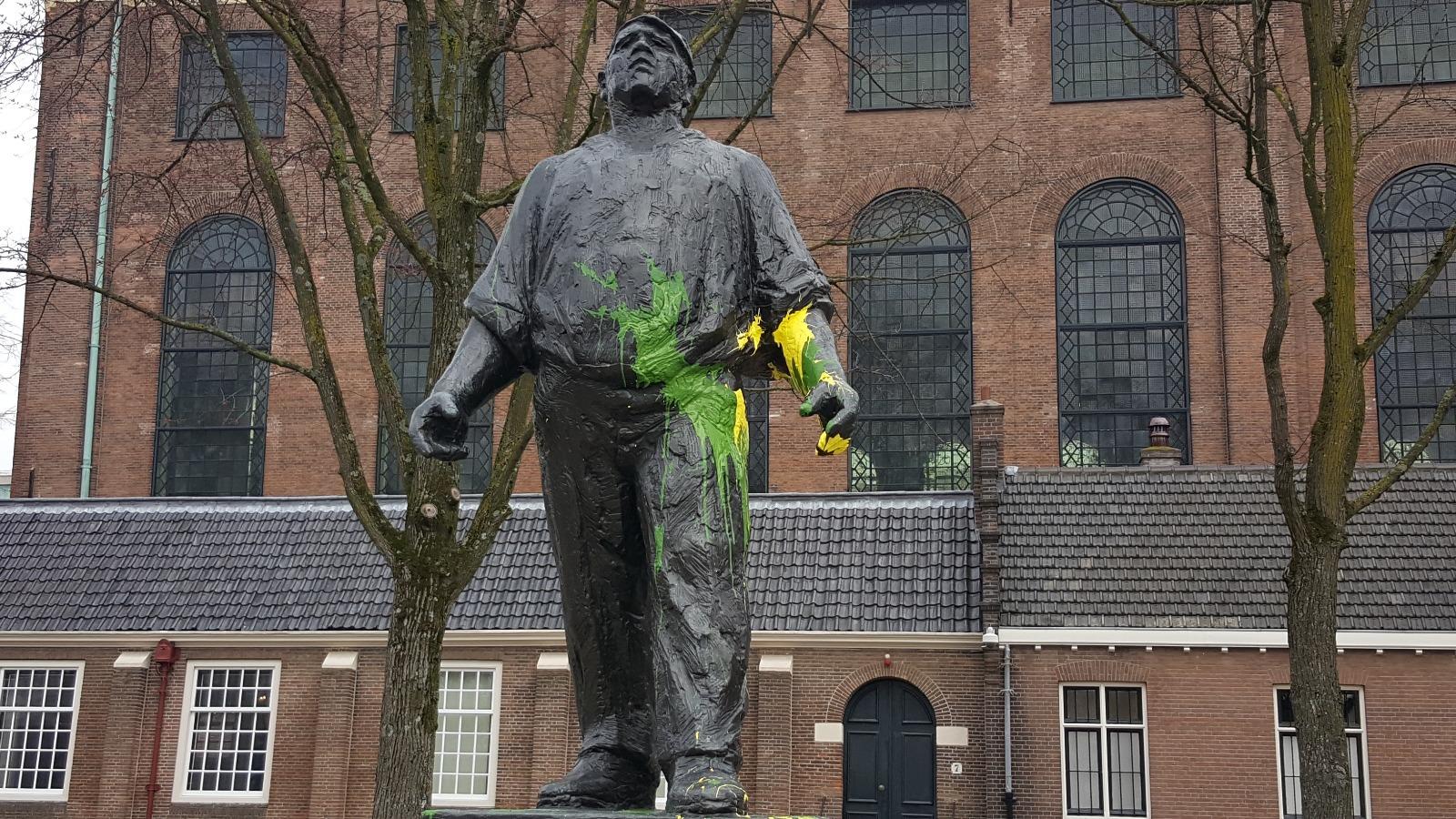 Amsterdam beklad met geel en groene verf