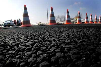 Foto van afgezette snelweg politie ongeval   Archief EHF