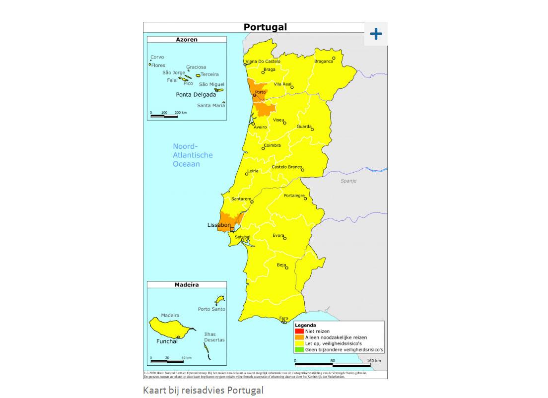 Het reisadvies voor Portugal en Lissabon oranje vanwege toename corona