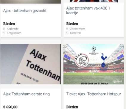 Politie waarschuwt voor valse kaarten Ajax-Tottenham Hotspur