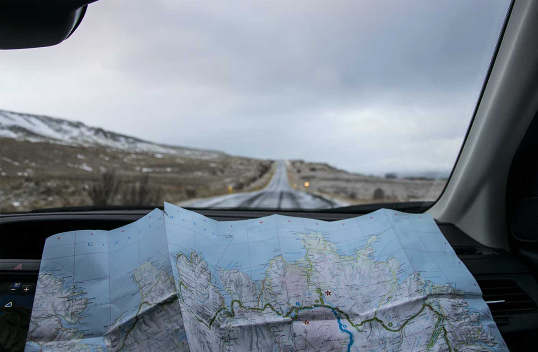 landkaart-auto-roadtrip-vakantie