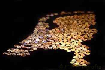 Foto van munten in vorm van Nederland   Archief FBF