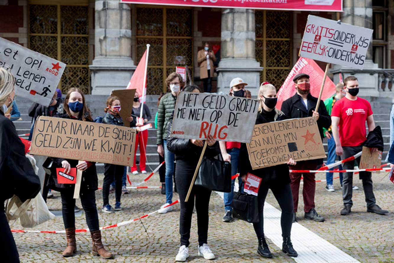 protest-studenten-leenstelsel-Groningen