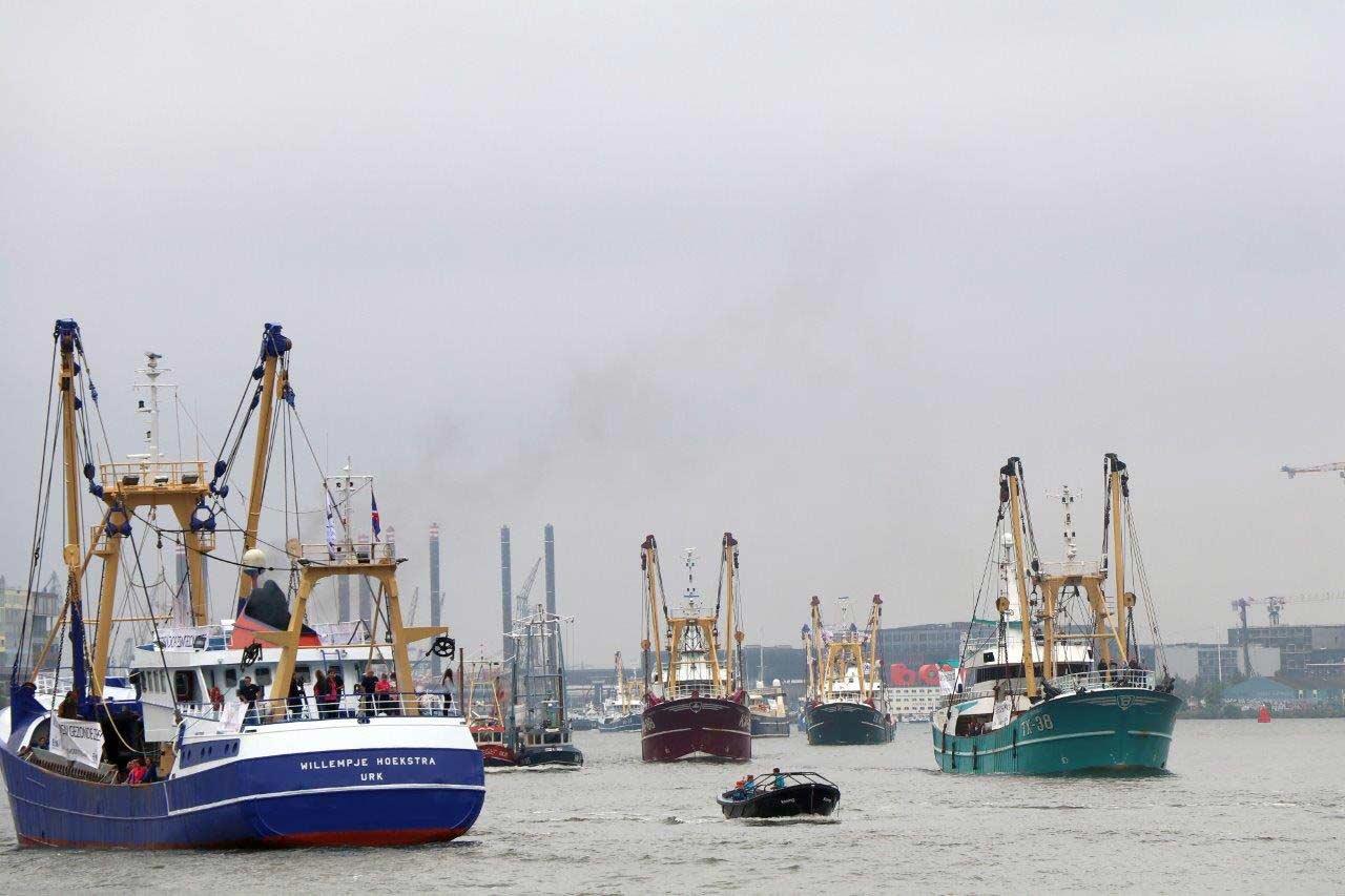Vissers protesteren in Amsterdam