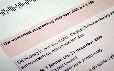 Foto van zorgtoeslag Belasting | Archief EHF