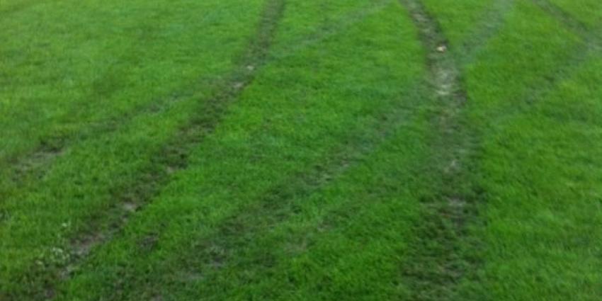 Foto van schade aan voetbalveld | v.v Siddeburen
