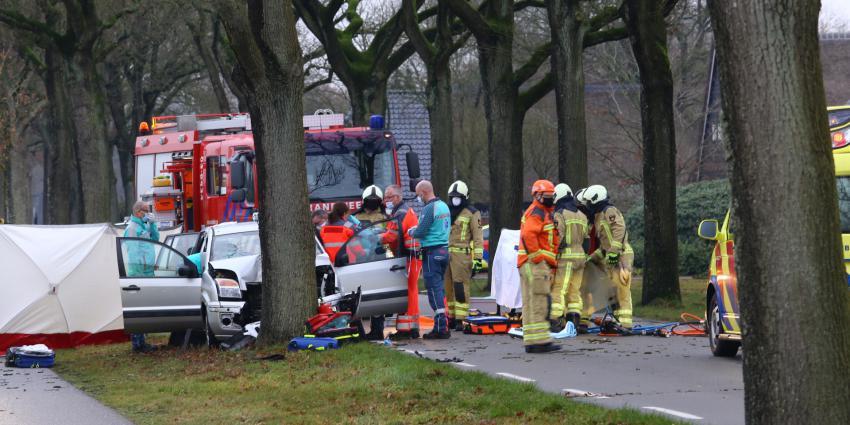 Hulpverleners proberen het leven van de bestuurder te redden