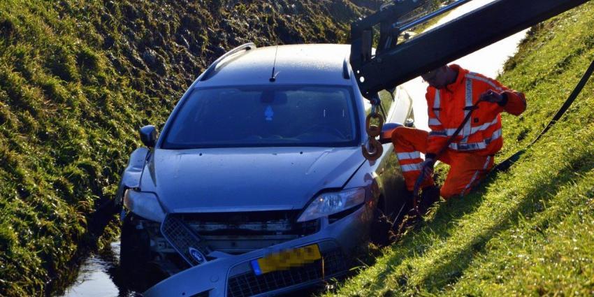 Automobilist belandt met auto in de sloot op de N33 bij Noordbroek