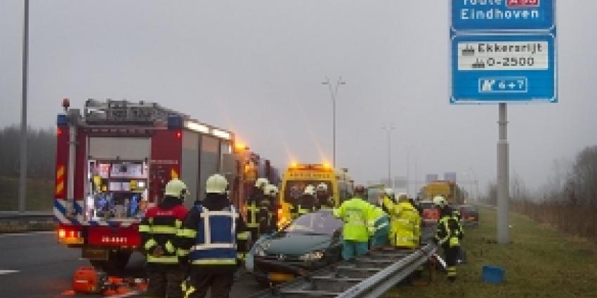 A50 bij Arnhem dicht door ongeval 3 vrachtwagens