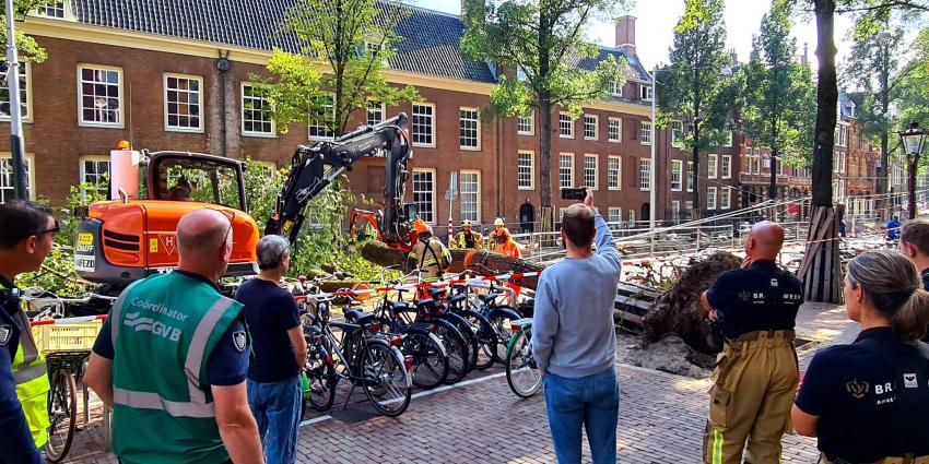 Brandweer bezig met verwijderen boom