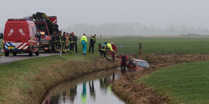 Auto te water in Groningen
