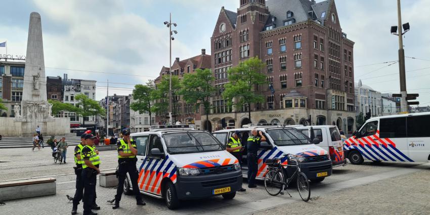 Veel politie aanwezig op de Dam