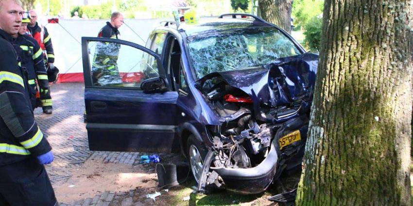 Twee gewonden bij auto tegen boom