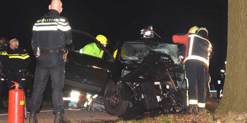 Man zonder rijbewijs en passagier gewond na botsing tegen boom