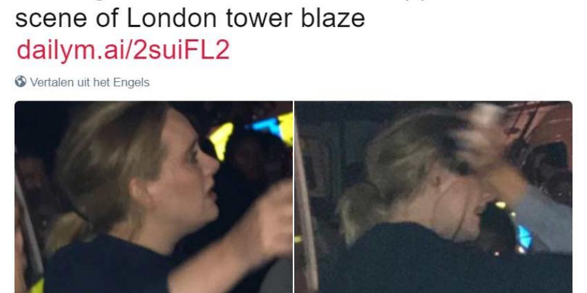 Adele bezoekt wake voor de slachtoffers van de brand in west-Londen