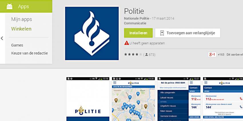 Foto van de politie app in de Google Play Store | Politie/Google