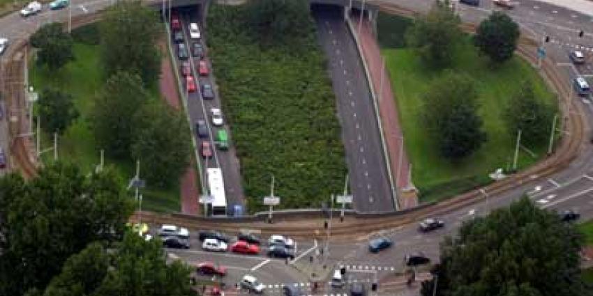 Luchtfoto van verkeer auto's file | Archief EHF