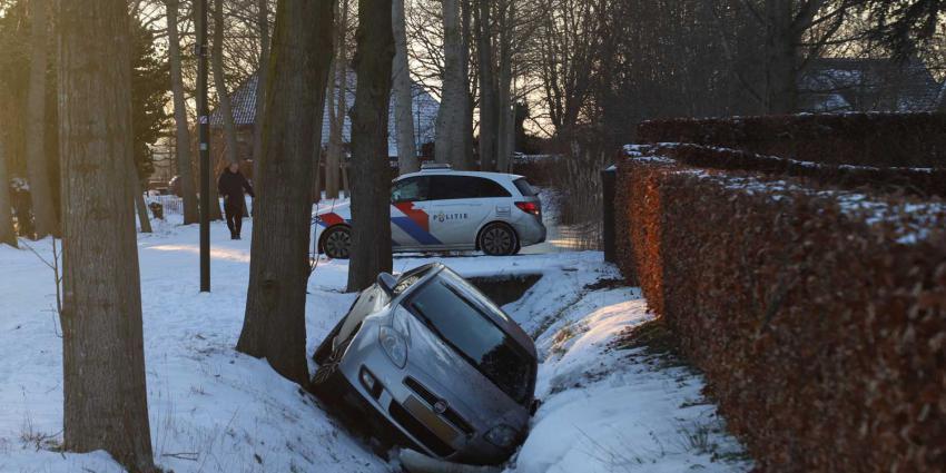 auto-sneeuw-sloot-politieauto