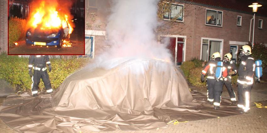 Autobrand geblust met bluskleed
