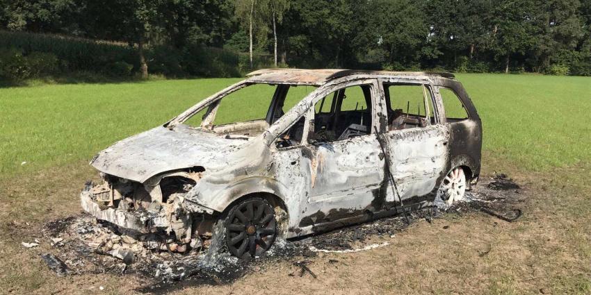 Uitgebrande auto aangetroffen in weiland