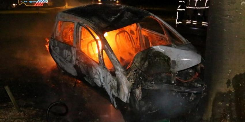 Auto in brand na botsing met boom in Oudemolen
