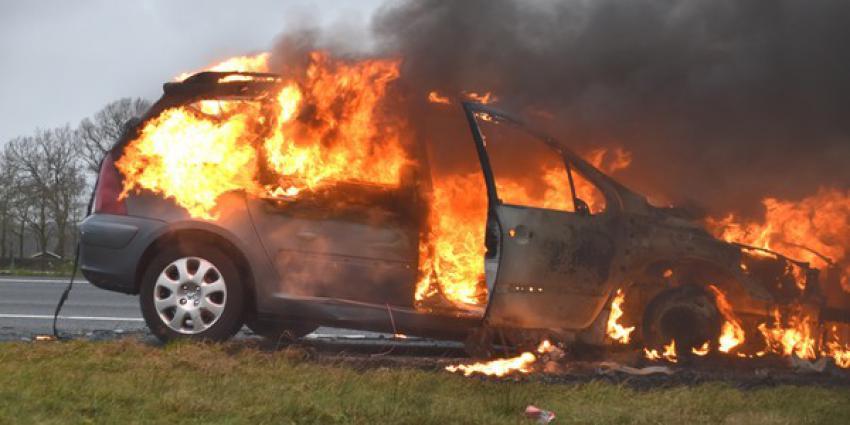 auto, rijden, uitgebrand, brandweer