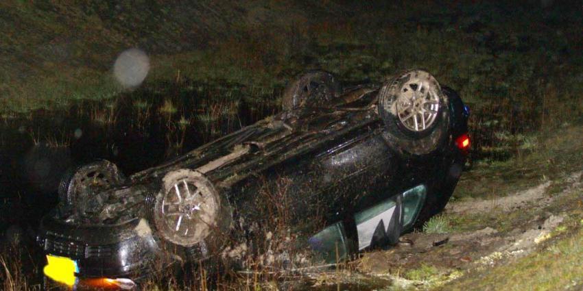Auto te water op N33 bij Gieten