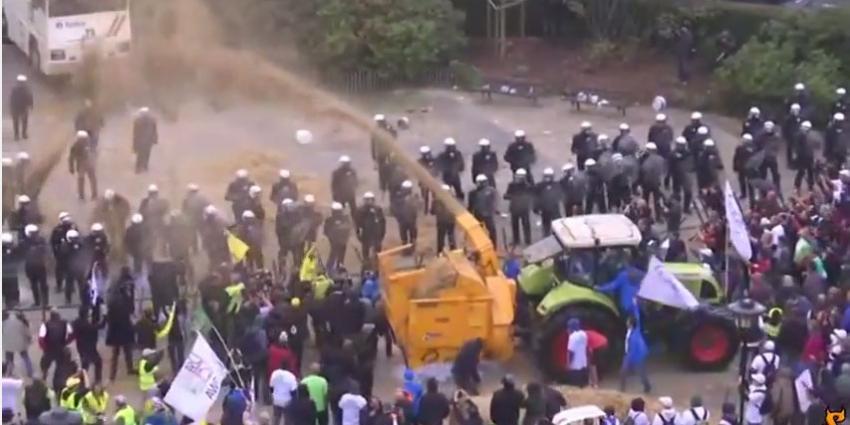 Boze boeren protesteren in Brussel