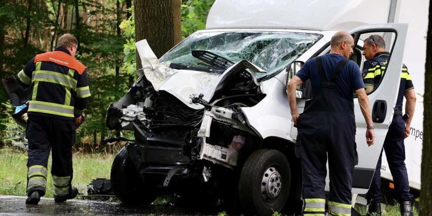 Chauffeur gewond na botsing tegen boom