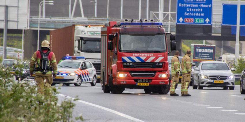 Brand in vrachtwagen A20