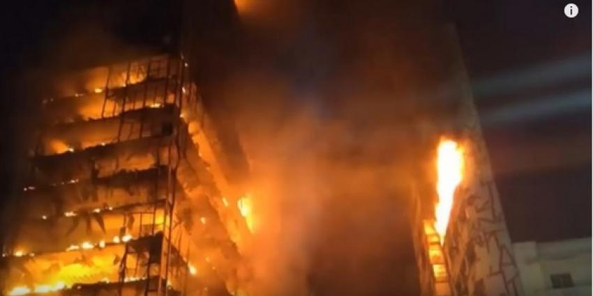 Brandende flat ingestort in Brazilaanse stad São Paulo