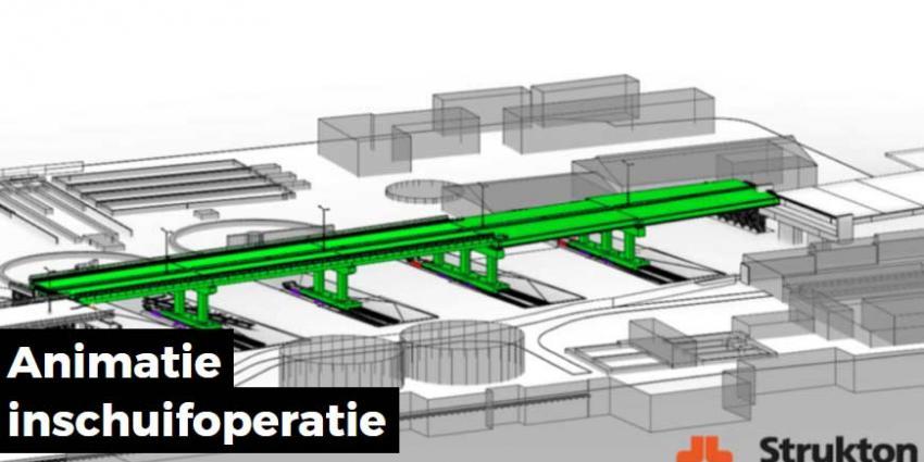 Nieuw brugdek Noorderbrug Maastricht wordt ingeschoven