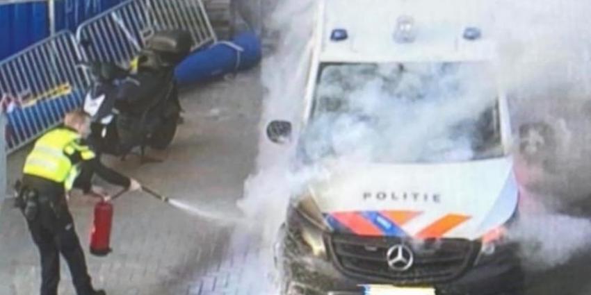 Politiebus in brand