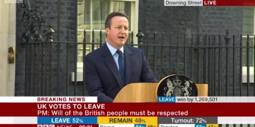 Cameron stapt op na Brexit