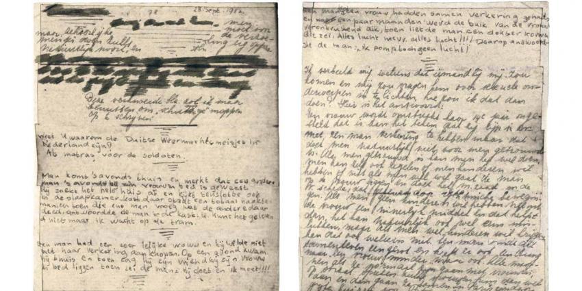Twee afgeplakt pagina's dagboek Anne Frank leesbaar gemaakt