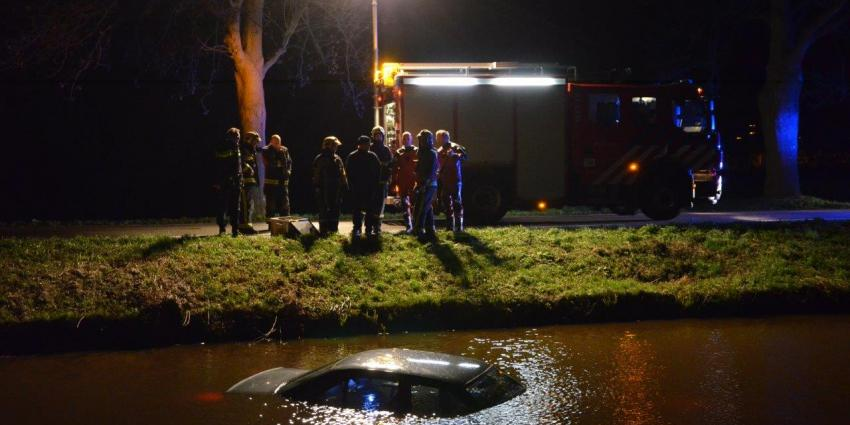 Auto te water tussen Zuidbroek en Muntendam