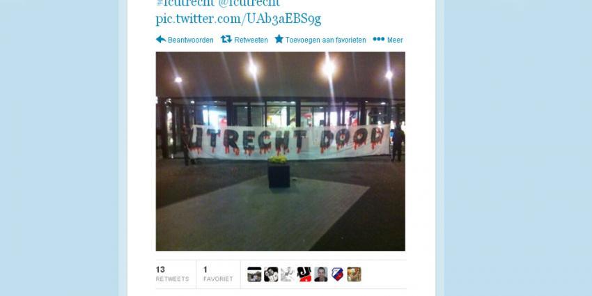 Foto van doodskist voor FC Utrecht stadion | Twitter