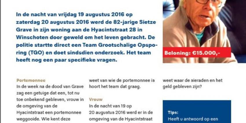Vragen en tipgeld in onderzoek naar dood Sietze Grave uit Winschoten