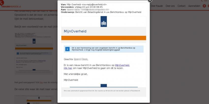 Fraude Helpdesk waarschuwt voor phishingmail MijnOverheid