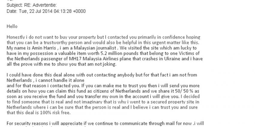 Fraudehelpdesk:gewetenloze fraudeurs storten zich op vliegtuigramp MH17