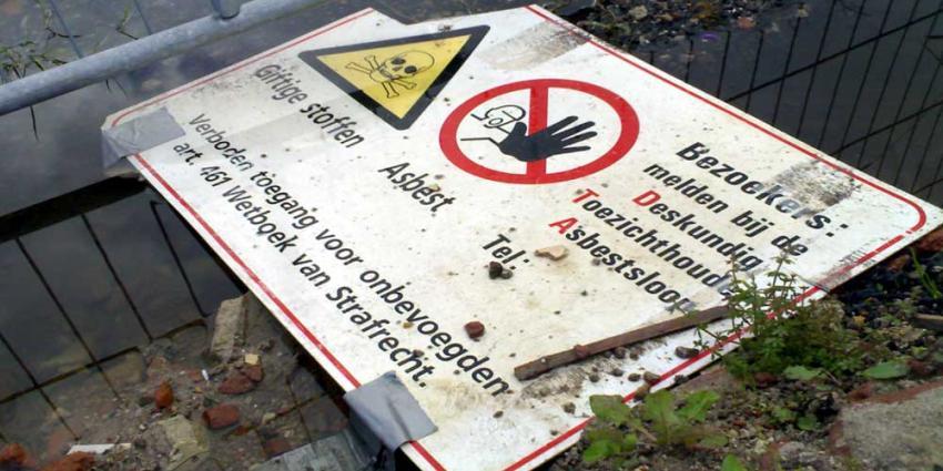 Foto van waarschuwingsbord asbest sloop | Archief EHF