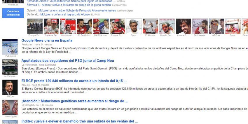 Google sluit nieuwsdienst in Spanje