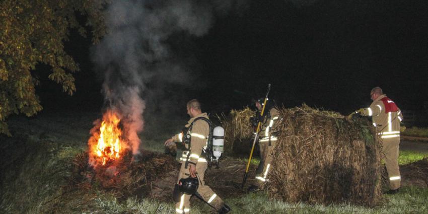 Nachtelijke hooibrand voor brandweer Schiedam