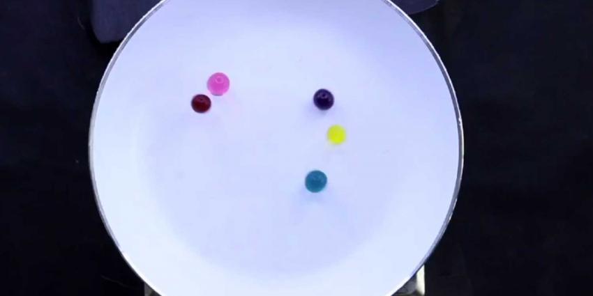 Springende en piepende hydrogelballetjes op een hete plaat verklaard