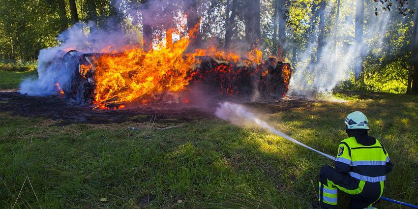 Brandweer heeft handen vol aan brandende rollen gemaaide bies