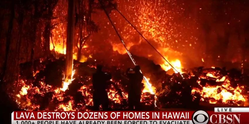 Videobeelden natuurgeweld lavastromen Hawaï maken diepe indruk