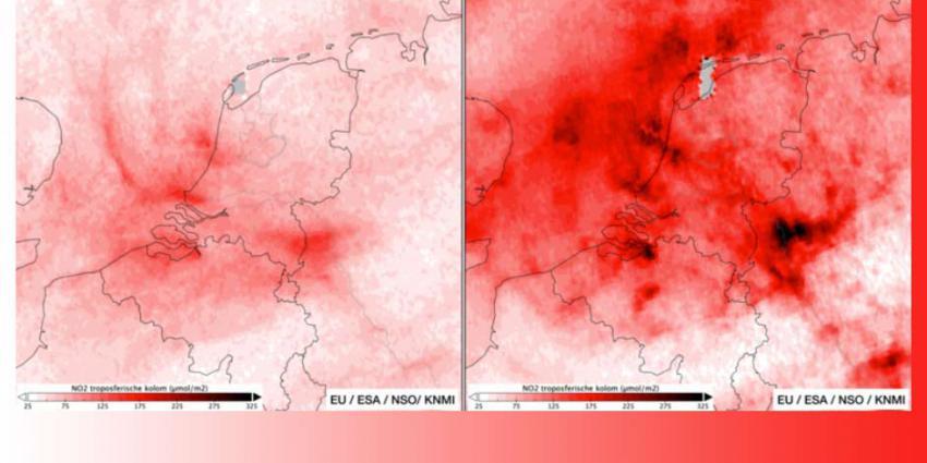 Lucht boven Nederland behoorlijk veel schoner