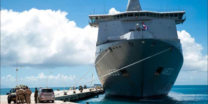 Marineschip Karel Doorman zondag aangekomen op Sint-Maarten