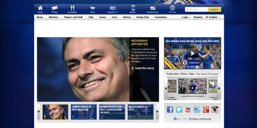 Screenshot website Chelsea Mourinho | Website Chelsea